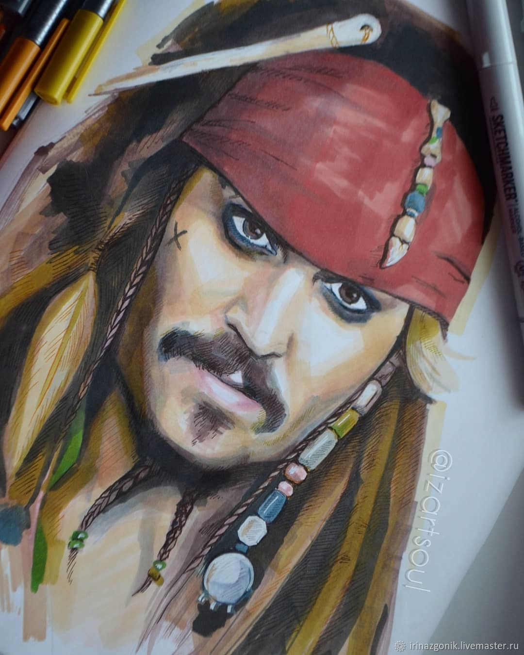 Custom portrait Hand Drawn Face From Your Photo Captain Jack Sparrow, Pictures, Noyabrsk,  Фото №1