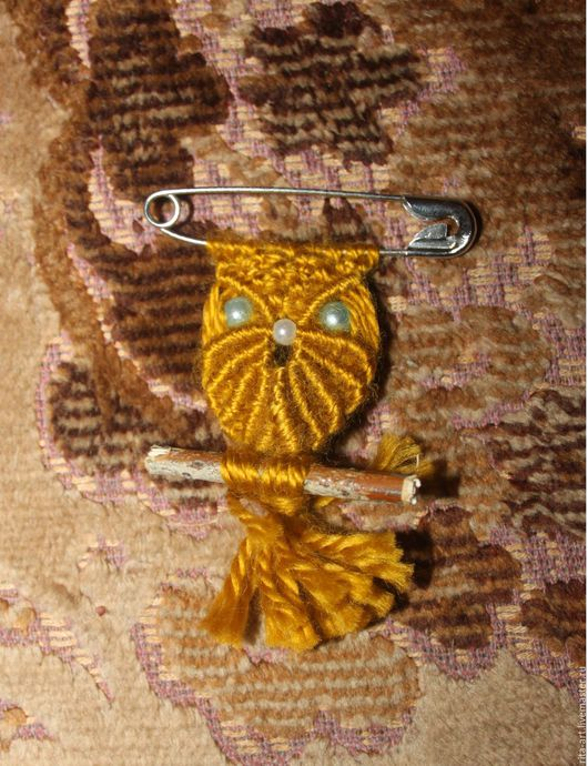 Сова брошь-булавка цвета `Листопад`