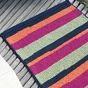 """Для дома и интерьера ручной работы. Ярмарка Мастеров - ручная работа коврик вязаный прямоугольный """"Яркие Полоски"""". Handmade."""