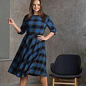 Одежда handmade. Livemaster - original item Plaid dress blue and graphite. Handmade.