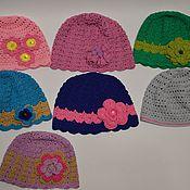 Работы для детей, ручной работы. Ярмарка Мастеров - ручная работа Ажурная шапочка с цветком для девочки в ассортименте. Handmade.