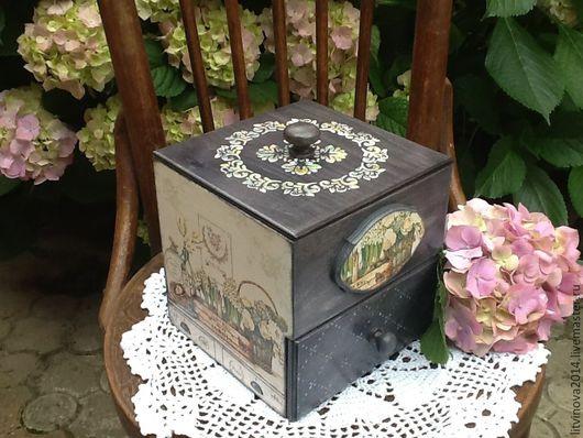 Мини-комоды ручной работы. Ярмарка Мастеров - ручная работа. Купить Мини комодик дамский для хранения или короб для чая. Handmade.