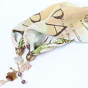 """Украшения ручной работы. Ярмарка Мастеров - ручная работа """"Весна в Париже"""" колье-платок с подвеской из оникса. Handmade."""