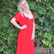 Одежда handmade. Livemaster - original item Dress knit red with lace collar. Handmade.