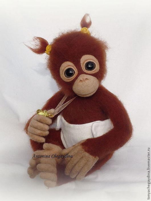 Игрушки животные, ручной работы. Ярмарка Мастеров - ручная работа. Купить Обезьянка валяная орангутан Туня. Handmade. Рыжий
