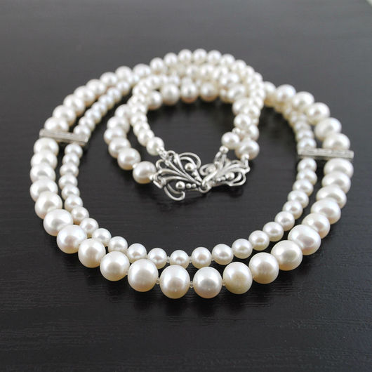 """Колье, бусы ручной работы. Ярмарка Мастеров - ручная работа. Купить Ожерелье """"Белый лотос"""" с серебром 925 пробы. Handmade."""