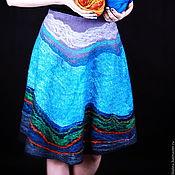 Одежда ручной работы. Ярмарка Мастеров - ручная работа Юбка валяная, с шелком, Самоцветы. Handmade.