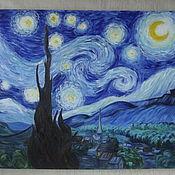 """Картины и панно ручной работы. Ярмарка Мастеров - ручная работа Картина Маслом """"Звёздная ночь"""". Handmade."""