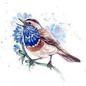 Картины и панно handmade. Livemaster - original item watercolor painting, Blue in the flowers of chicory. Handmade.
