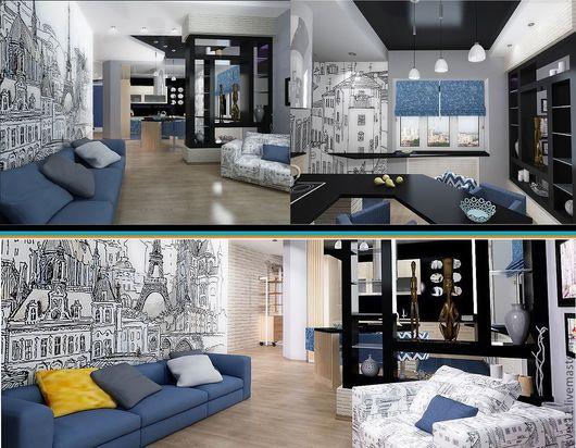 Проект интерьера однокомнатной квартиры для молодой пары