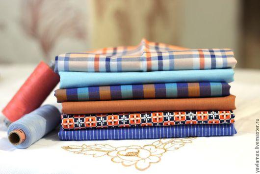 Шитье ручной работы. Ярмарка Мастеров - ручная работа. Купить Набор тканей Горчично-Синее Сочетание. Handmade. Ткань для рукоделия