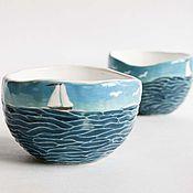 """Посуда ручной работы. Ярмарка Мастеров - ручная работа Комплект пиал """"Запах моря"""". Handmade."""