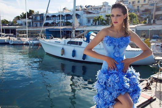 """Платья ручной работы. Ярмарка Мастеров - ручная работа. Купить Платье """"Морская лагуна"""". Handmade. Голубой, корсет, фатин"""