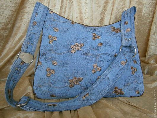Женские сумки ручной работы. Ярмарка Мастеров - ручная работа. Купить Сумка текстильная Джинсовая голубая. Handmade. Голубой