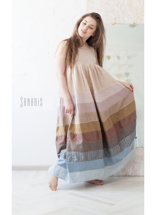 Платья ручной работы. Ярмарка Мастеров - ручная работа. Купить Эко платье-сарафан из натурального льна. Handmade. Бледно-сиреневый