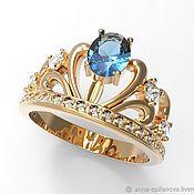 Украшения handmade. Livemaster - original item Queen`s Crown ring in 585 gold with stones (K5). Handmade.