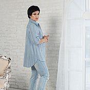 Одежда handmade. Livemaster - original item Blouse shirt linen lightweight striped blue tone. Handmade.