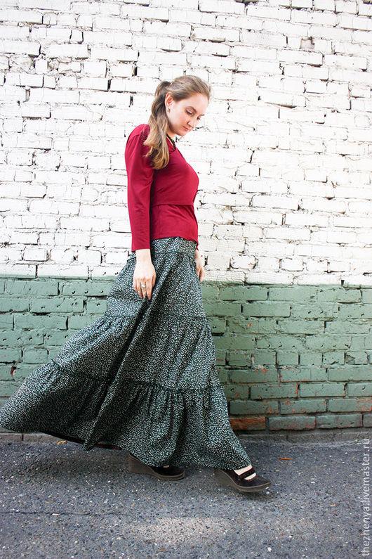 Юбки ручной работы. Ярмарка Мастеров - ручная работа. Купить Ярусная юбка. Handmade. Тёмно-зелёный, оборки, макси