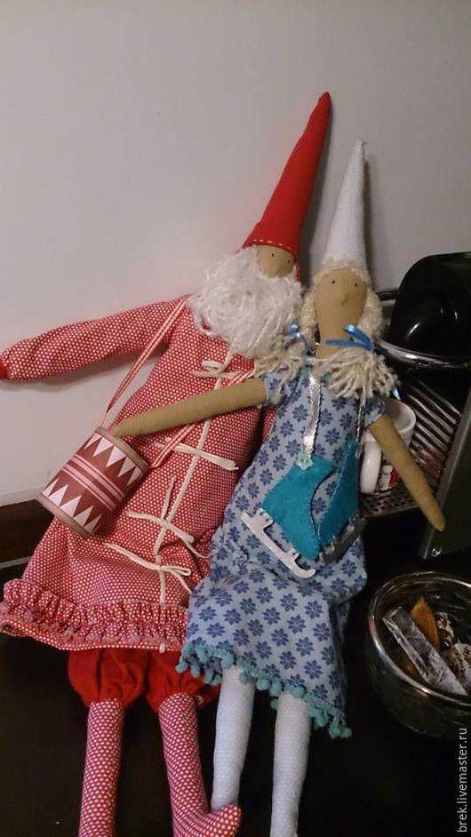 Куклы Тильды ручной работы. Ярмарка Мастеров - ручная работа. Купить Дед Мороз и Снегурочка. Handmade. Ярко-красный