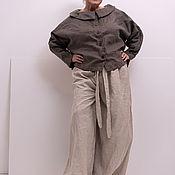 Юбки ручной работы. Ярмарка Мастеров - ручная работа Льняная юбка-брюки, с карманами по бокам , с  длинным поясом. Handmade.