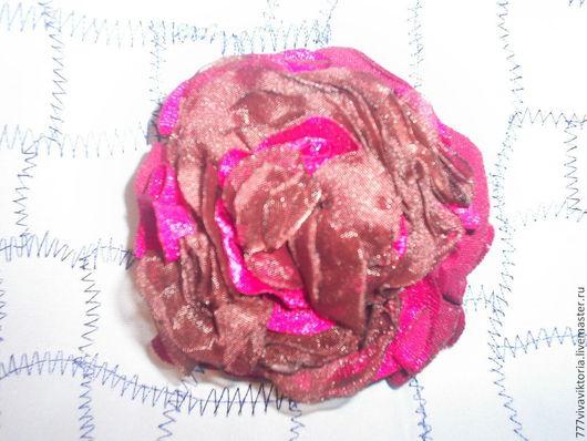 Броши ручной работы. Ярмарка Мастеров - ручная работа. Купить брошь-чайная роза .из ткани: бархат атлас и органза ,ручной работы. Handmade.