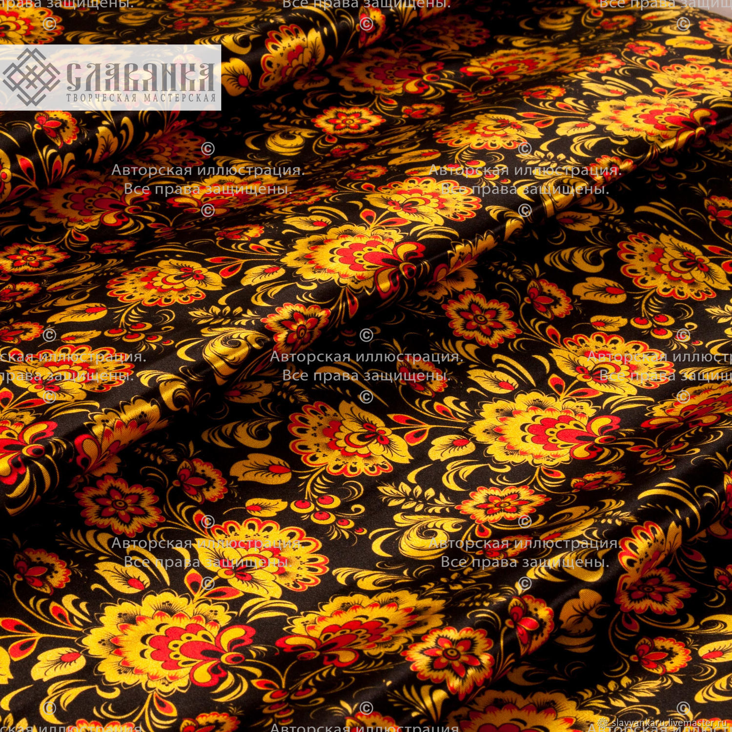 Fabric ' Khokhloma on black', Fabric, Sergiev Posad,  Фото №1
