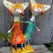 Мягкие игрушки ручной работы. Ярмарка Мастеров - ручная работа Лисы, парочка; папье-маше. Handmade.