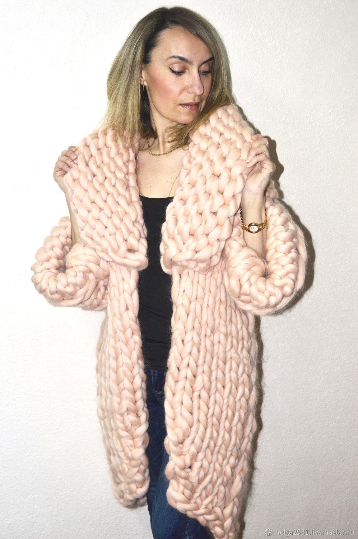 Вязаное пальто из толстой пряжи своими руками