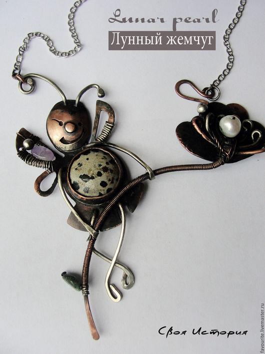 Колье, бусы ручной работы. Ярмарка Мастеров - ручная работа. Купить Цветочное колье из коллекции украшений «Lunar pearl» Лунный жемчуг. Handmade.