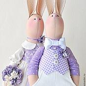 Куклы и игрушки ручной работы. Ярмарка Мастеров - ручная работа Свадебные зайцы в сиреневых тонах. Подарок на свадьбу. Handmade.