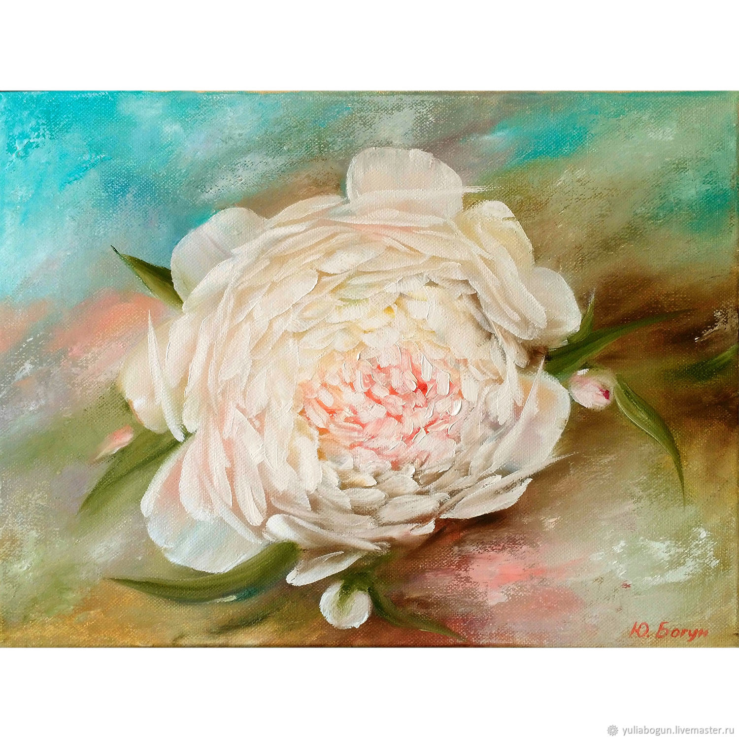 Oil painting 'White peony', Pictures, Belorechensk,  Фото №1