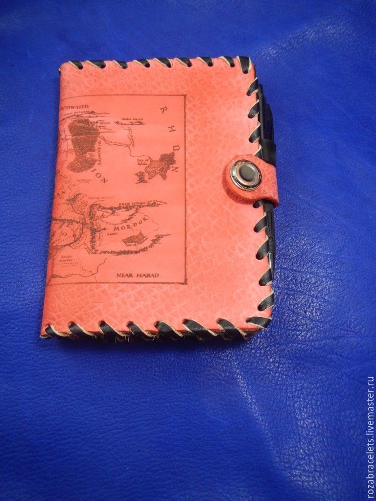 Leather notebook engraved with a Map of