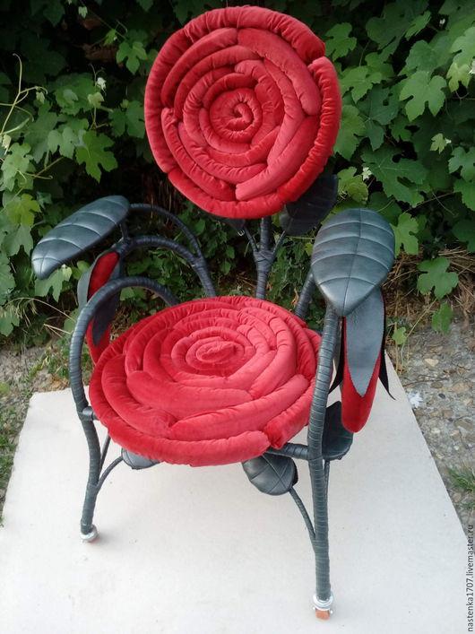 Мебель ручной работы. Ярмарка Мастеров - ручная работа. Купить кресло роза. Handmade. Ярко-красный, мебель авторская