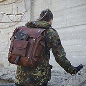 Сумки и аксессуары handmade. Livemaster - original item Average Hiking backpack genuine leather Vintage. Handmade.