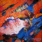 """Картины и панно ручной работы. Ярмарка Мастеров - ручная работа Батик панно """"Осень в лужах"""".. Handmade."""