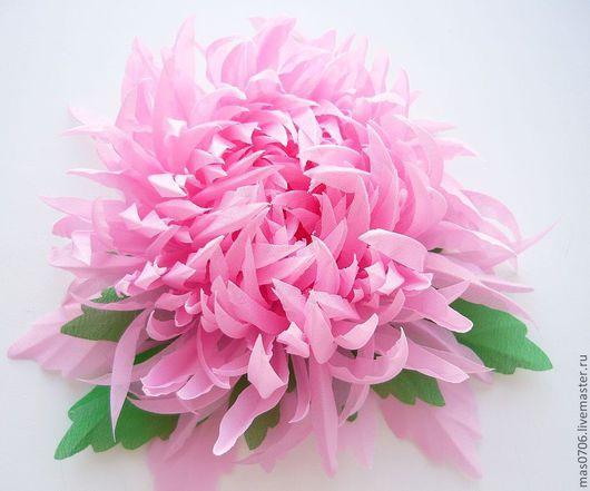 """Цветы ручной работы. Ярмарка Мастеров - ручная работа. Купить Хризантема """"Розовая нежность"""". Handmade. Розовый, цветы, шёлковый шифон"""