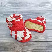 Работы для детей, handmade. Livemaster - original item Children`s shoes: plush knitted boots for children, 12 cm on the foot. Handmade.