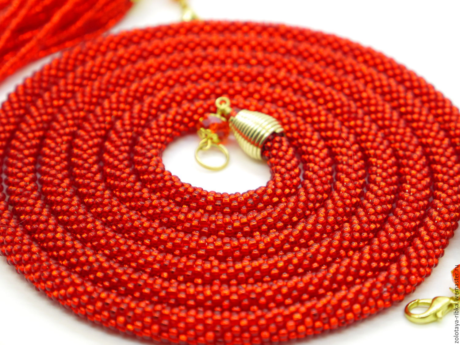 Lariat beaded handmade.Fair masters-handmade.Buy Lariat beaded long burn the Fire tie waist beads.Handmade.
