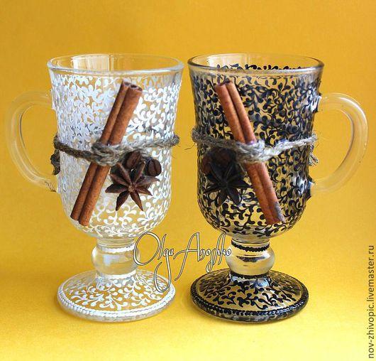 Бокалы, стаканы ручной работы. Ярмарка Мастеров - ручная работа. Купить В наличии! Бокалы для глинтвейна. Роспись по стеклу. Декориро. Handmade.