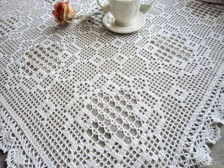 Small tablecloth/Large doily crochet. Sirloin knitting. Fillet, Tablecloths, Tolyatti,  Фото №1