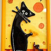 """Картины ручной работы. Ярмарка Мастеров - ручная работа Коллаж """"Кошка и мышка"""", картина на стену. Handmade."""