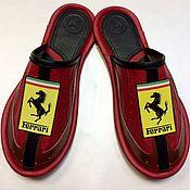 """Обувь ручной работы. Ярмарка Мастеров - ручная работа Кожаные тапочки """" Ferrari-44"""". Handmade."""