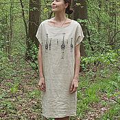 """Одежда ручной работы. Ярмарка Мастеров - ручная работа Льняное платье """"Жирафы"""" бежевое. Handmade."""