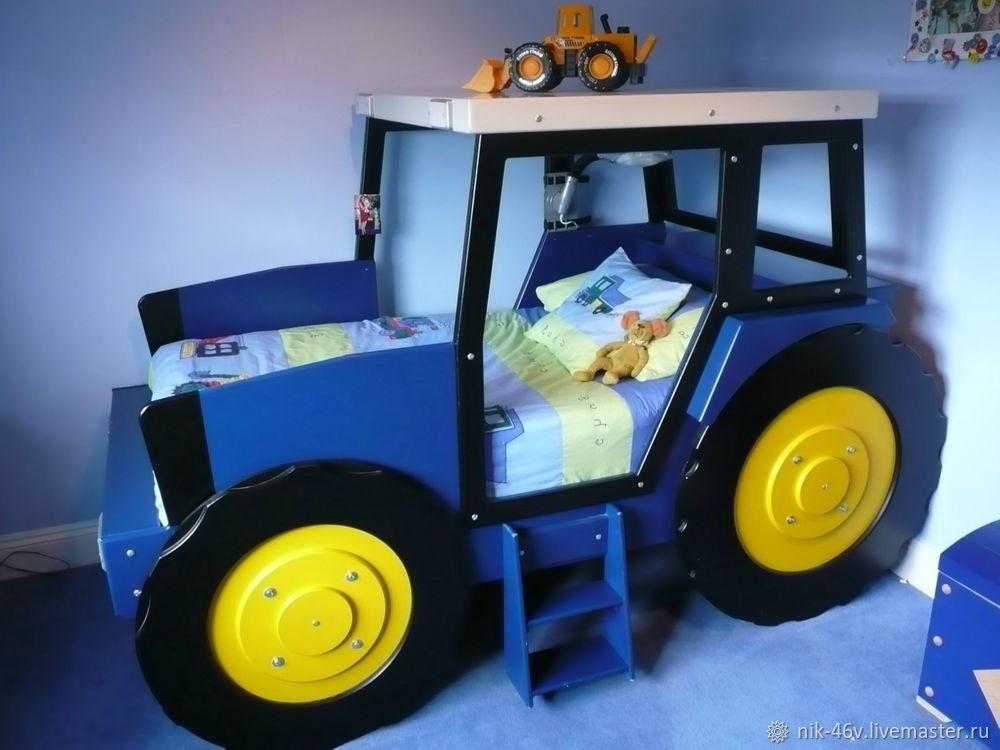 Синий трактор из мультика - детская кроватка оригинальная, Кровати, Санкт-Петербург, Фото №1