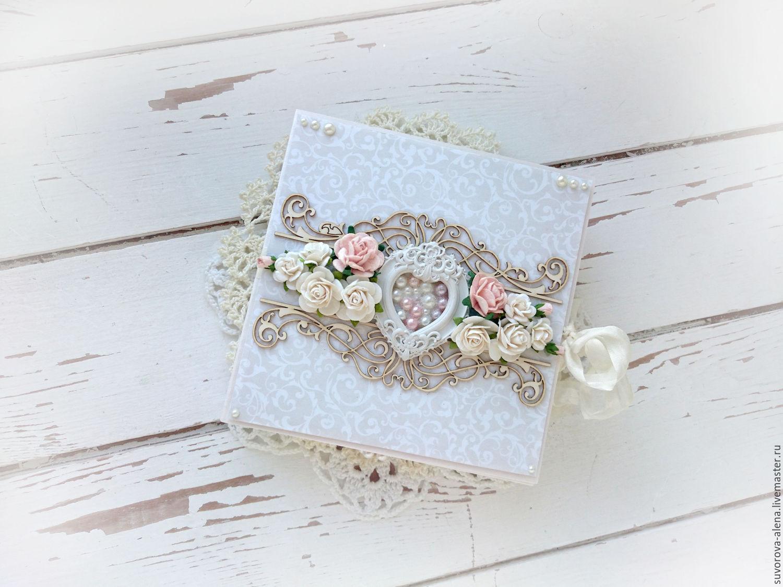 Свадебная открытка плюс конверт в едином стиле скрапбукинг