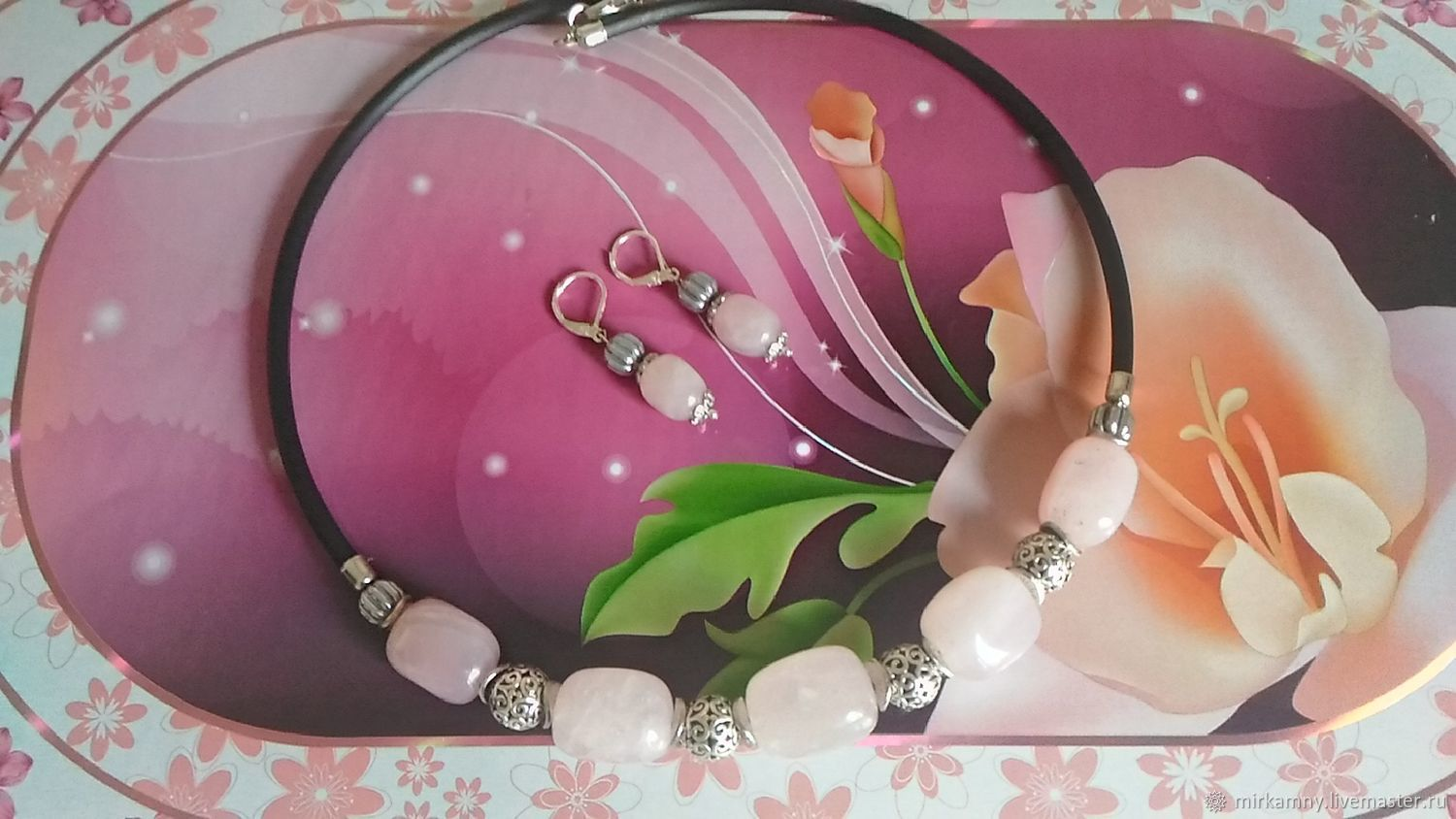 Choker Necklace and rose quartz earrings set, Jewelry Sets, Sasovo,  Фото №1