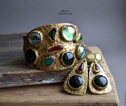 Браслеты ручной работы. Ярмарка Мастеров - ручная работа. Купить Браслет Византия с зеленым стеклом. Handmade. Тёмно-зелёный