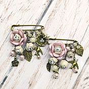 Украшения handmade. Livemaster - original item Brooch pin with pendants. Brooch with flowers. brooch made of leather. Handmade.