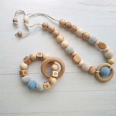 Товары для малышей ручной работы. Ярмарка Мастеров - ручная работа Комплект из именного грызунка и слингобус. Handmade.