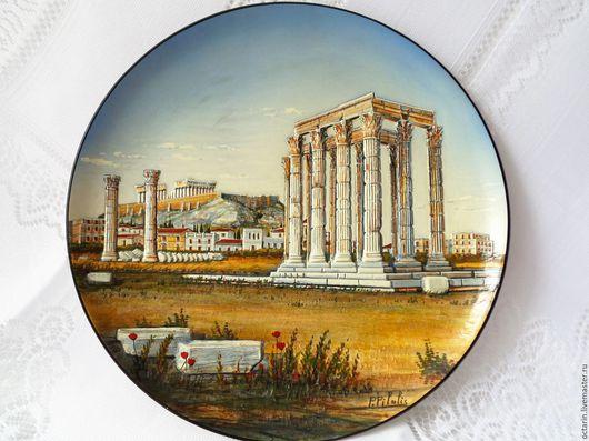 Тарелки ручной работы. Ярмарка Мастеров - ручная работа. Купить Тарелка настенная керамическая, Греция. Handmade. Тарелка, керамическая посуда
